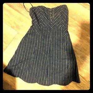 Navy @ white stripe strapless mini dress